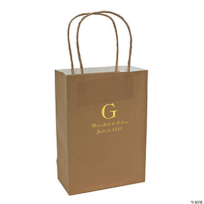 Gold Medium Personalized Monogram Welcome Gift Bags with Gold Foil