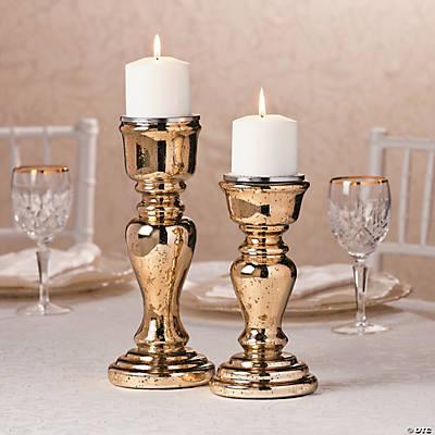 5a09b2634570b Gold Mercury Candle Holder Set