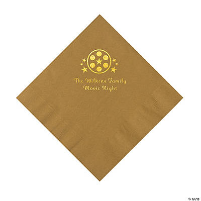 Gold Movie Night Personalized Napkins with Gold Foil – Luncheon Image Thumbnail