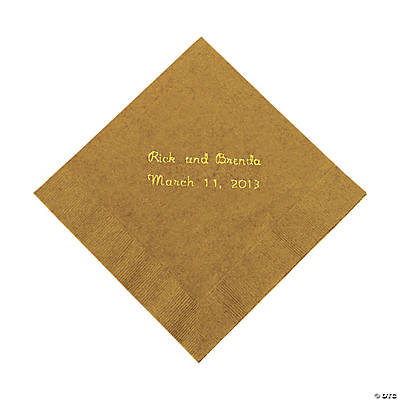 Gold Personalized Napkins with Gold Foil - Beverage Image Thumbnail