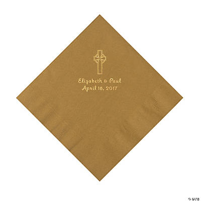 Gold Religious Wedding Personalized Luncheon Napkins with Gold Foil