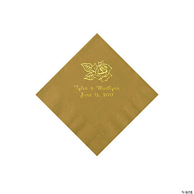 Gold Rose Personalized Napkins with Gold Foil - Beverage Image Thumbnail