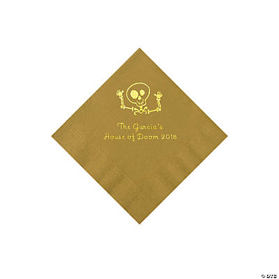 Gold Skeleton Personalized Napkins with Gold Foil - Beverage Image Thumbnail