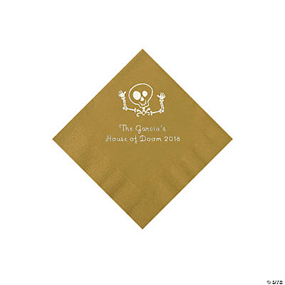 Gold Skeleton Personalized Napkins with Silver Foil - Beverage Image Thumbnail