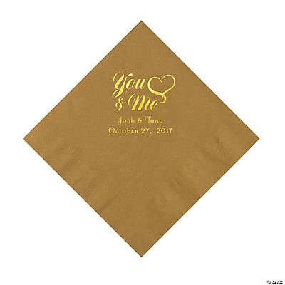 Gold You & Me Heart Personalized Napkins with Gold Foil – Luncheon Image Thumbnail