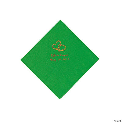 Green Two Hearts Personalized Napkins with Gold Foil - Beverage