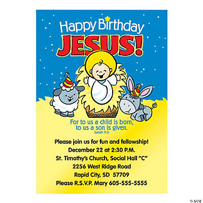 Happy Birthday Jesus Personalized Invitations Image Thumbnail