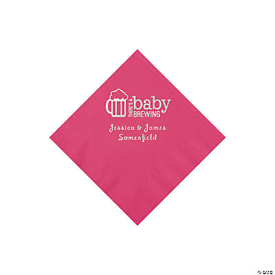 Hot Pink Baby Brewing Personalized Napkins with Silver Foil - Beverage Image Thumbnail