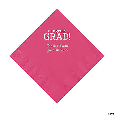 Hot Pink Congrats Grad Personalized Napkins with Silver Foil - Luncheon Image Thumbnail