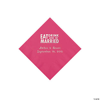 Hot Pink Eat, Drink And Be Married Napkins with Silver Foil - Beverage Image Thumbnail