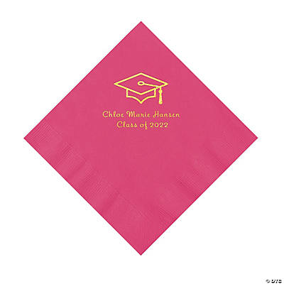Hot Pink Grad Mortarboard Personalized Napkins with Gold Foil – Luncheon Image Thumbnail