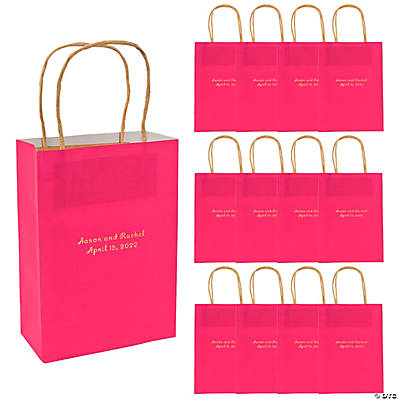 Hot Pink Medium Personalized Kraft Paper Gift Bags with Gold Foil Image Thumbnail
