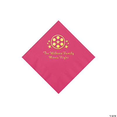 Hot Pink Movie Night Personalized Napkins with Gold Foil – Beverage Image Thumbnail