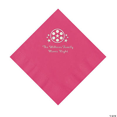 Hot Pink Movie Night Personalized Napkins with Silver Foil – Luncheon Image Thumbnail