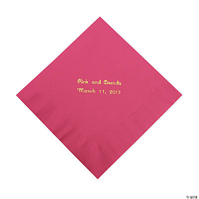 Hot Pink Personalized Napkins with Gold Foil - Luncheon Image Thumbnail
