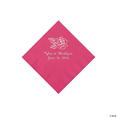Hot Pink Rose Personalized Napkins - Beverage Image Thumbnail