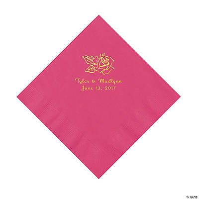 Hot Pink Rose Personalized Napkins with Gold Foil - Luncheon Image Thumbnail
