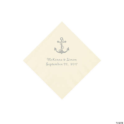 Ivory Anchor Personalized Napkins with Silver Foil - Beverage Image Thumbnail