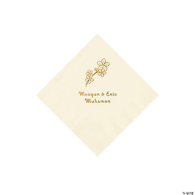 Ivory Blossom Branch Personalized Napkins with Gold Foil - Beverage Image Thumbnail