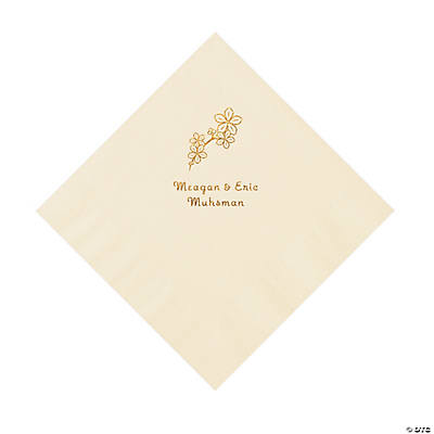 Ivory Blossom Branch Personalized Napkins with Gold Foil - Luncheon Image Thumbnail