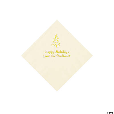 Ivory Christmas Tree Personalized Napkins with Gold Foil – Beverage Image Thumbnail