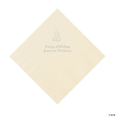 Ivory Christmas Tree Personalized Napkins with Silver Foil – Luncheon Image Thumbnail