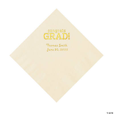 Ivory Congrats Grad Personalized Napkins with Gold Foil - Luncheon Image Thumbnail