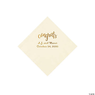 Ivory Congrats Personalized Napkins with Gold Foil - Beverage Image Thumbnail