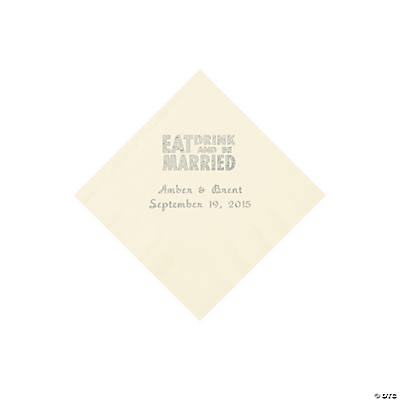 Ivory Eat, Drink And Be Married Napkins with Silver Foil - Beverage Image Thumbnail
