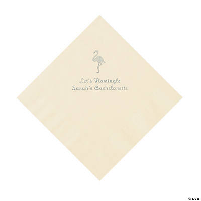 Ivory Flamingo Personalized Napkins with Silver Foil - Luncheon Image Thumbnail