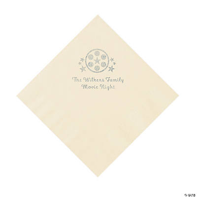 Ivory Movie Night Personalized Napkins with Silver Foil – Luncheon Image Thumbnail