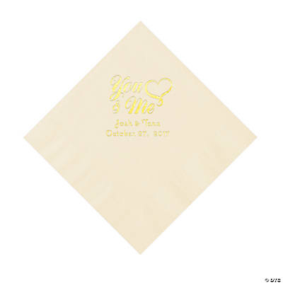 Ivory You & Me Heart Personalized Napkins with Gold Foil – Luncheon