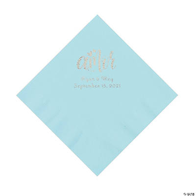 Light Blue Amor Personalized Napkins with Silver Foil - Luncheon Image Thumbnail