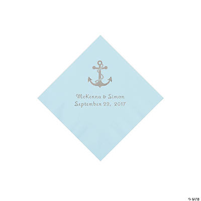 Light Blue Anchor Personalized Napkins with Silver Foil - Beverage Image Thumbnail