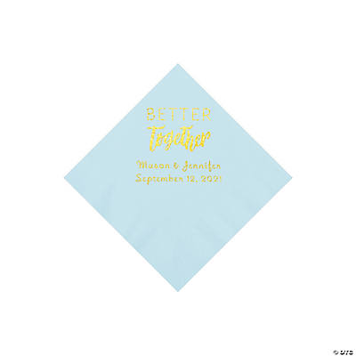 Light Blue Better Together Personalized Napkins with Gold Foil - Beverage Image Thumbnail