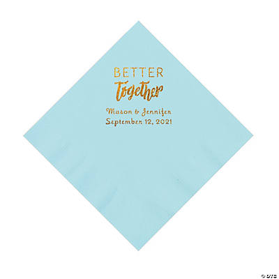 Light Blue Better Together Personalized Napkins with Gold Foil - Luncheon Image Thumbnail