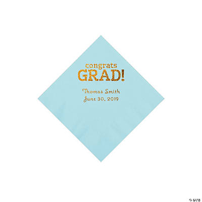 Light Blue Congrats Grad Personalized Napkins with Gold Foil - Beverage Image Thumbnail