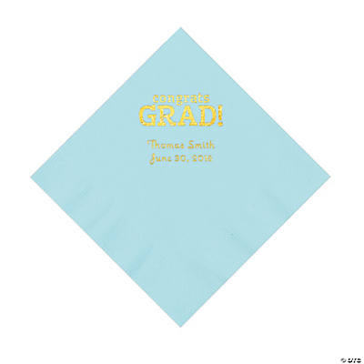 Light Blue Congrats Grad Personalized Napkins with Gold Foil - Luncheon Image Thumbnail