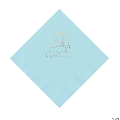 Light Blue Cowboy Boots Personalized Napkins with Silver Foil - Luncheon Image Thumbnail