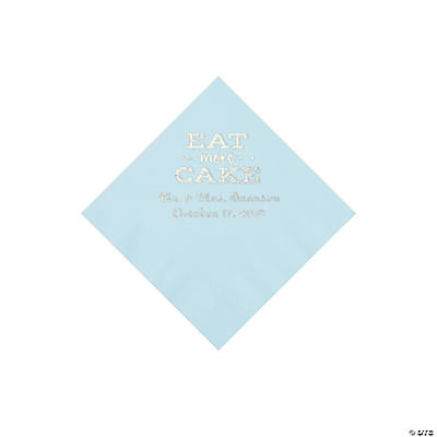 Light Blue Eat Cake Personalized Napkins with Silver Foil - Beverage Image Thumbnail