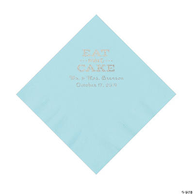 Light Blue Eat Cake Personalized Napkins with Silver Foil - Luncheon Image Thumbnail