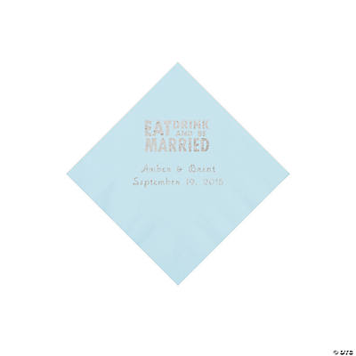 Light Blue Eat, Drink And Be Married Napkins with Silver Foil - Beverage Image Thumbnail