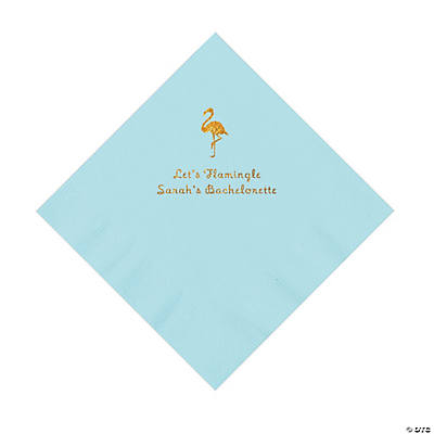 Light Blue Flamingo Personalized Napkins with Gold Foil - Luncheon