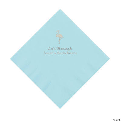 Light Blue Flamingo Personalized Napkins with Silver Foil - Luncheon