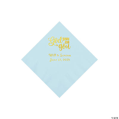 Light Blue God Gave Me You Personalized Napkins with Gold Foil - Beverage Image Thumbnail