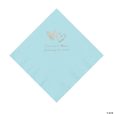 Light Blue Hearts Personalized Napkins with Silver Foil - Luncheon Image Thumbnail
