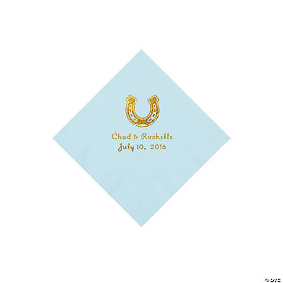 Light Blue Horseshoe Personalized Napkins with Gold Foil - Beverage