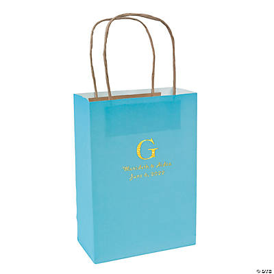 Light Blue Medium Personalized Monogram Welcome Gift Bags with Gold Foil Image Thumbnail