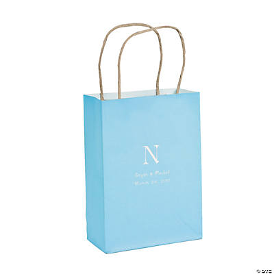 Light Blue Medium Personalized Monogram Welcome Gift Bags with Silver Foil Image Thumbnail