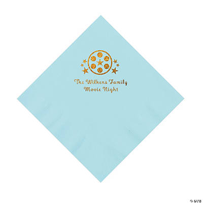 Light Blue Movie Night Personalized Napkins with Gold Foil – Luncheon Image Thumbnail